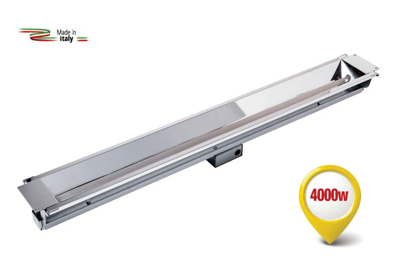 Radiant infrared heater equipped with the new special lamp with a Fast Medium-Wave