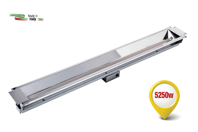 Radiant infrared heater equipped with the new special lamp with a Fast Mediumwave