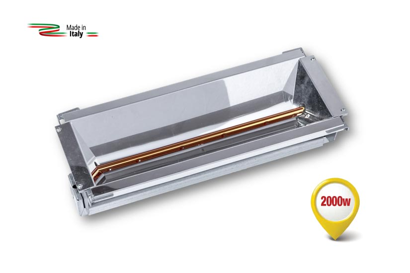 Radiant infrared heater equipped with the new special lamp with a Fast Medium-Wave.