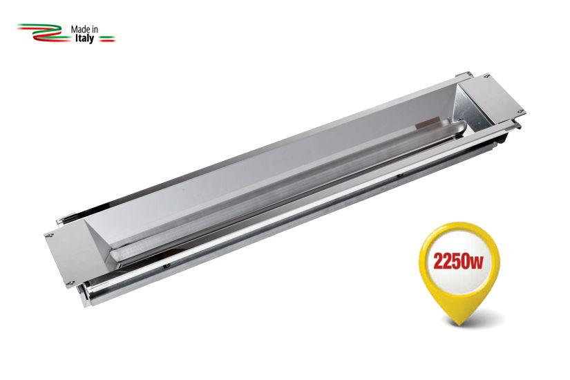 Dispositif de chauffage à rayons infrarouges equipé d'une nouvelle lampe spéciale à Ondes Moyennes Rapides.