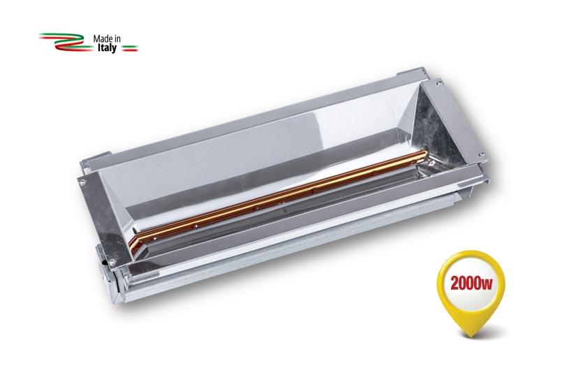 Dispositif de chauffage à rayons infrarouges équipé d'une nouvelle lampe spéciale à Ondes Courtes.