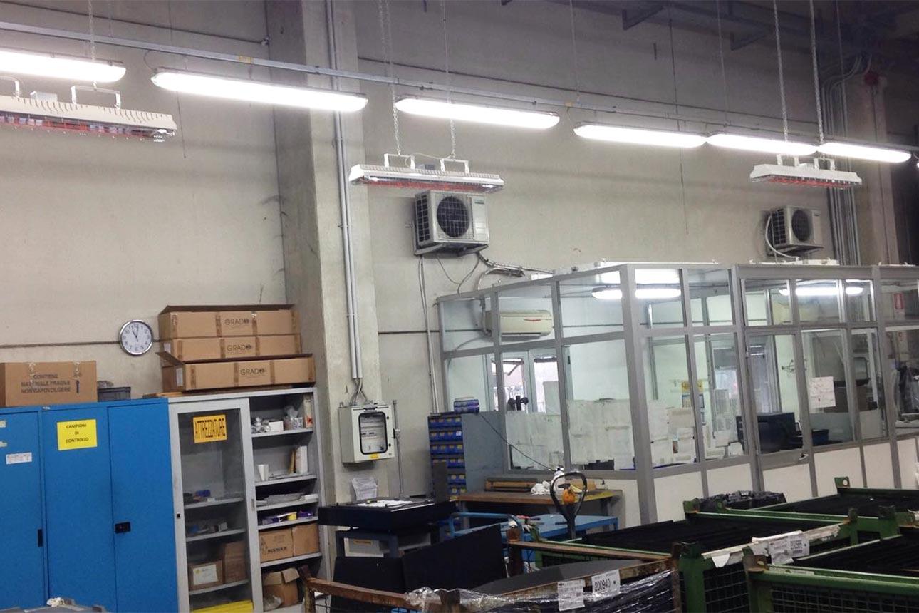Riscaldatori infrarossi installati c/o Bertazzoni S.p.a.