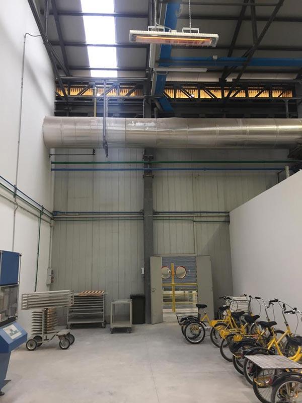 Riscaldamento Capannone industriale con lampade infrarossi Grado Heaters